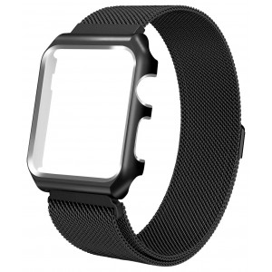 Chouqing 38mm Stainless Steel Mesh Band with Magnetic Closure Replacement Milanese Loop with Protective Case Compatible iWatch Band Series 3 Series 2 Series 1 Sport and Edition - Black