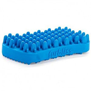 VETNIQUE LABS Furbliss Dog Cat Brush for Short Hair, Small Pets, Non Metal Grooming Bathing Massaging Silicone Brush - Blue