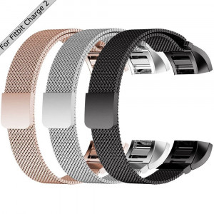 TDRTECH [3 Color Pack] Replacement Milanese Band for Fitbit Charge 2, Milanese Loop Stainless Steel Strap Accessories with Magnetic Clasp, RoseGold, Silver, Black