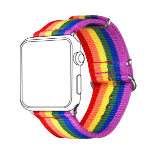Bandmax Compatible Rainbow Apple Watch Bands LGBT, ComfortableandDurable Sport Straps Nylon Replacement Wristband Accessories with Metal Buckle Compatible iwatch Series 4/3/2/1 38MM 40MM