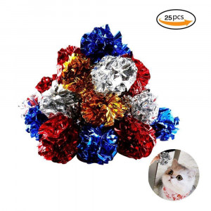 Bestsupplier 25 Pack Crinkle Balls Cat Toys - Original Mylar Crinkle Balls Cat ToysRandom Color