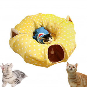 """AUOON Cat Tube and Tunnel with Central Mat for Cat Dog, Soft Mink Cashmere and Full Moon Shaped, Length 98"""" Diameter 9.8"""", 2 Color"""