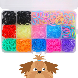 "YOY 3/4"" Pet Dog Stretchy Rubber Bands, 600/Box - Puppy Elastics Ties Pony Tail Holders Hair Accessories for Doggy Grooming Top Knots Ponytails Braids and Dreadlocks"