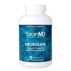 Dr Amen Brain MD NeuroLink - 180 Capsules - Natural Stress Relief and Mood Support Supplement, Promotes Optimal Brain Function, Focus and Concentration - Gluten Free - 45 Servings