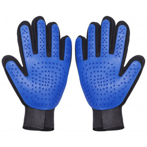 Thanger [Upgrade Version] - Pet Grooming Gloves Brush Mitt Gental Pet Deshedding Brush Gloves, Pet Hair Remover Mitt, Perfect Massage Petting Tool for Cats, Dogs and Horses (Blue, 1 Pair)