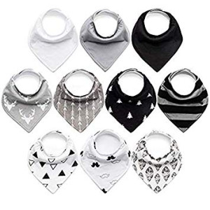 10-Pack Baby Bibs Upsimples Baby Bandana Drool Bibs for Drooling and Teething, 100% Organic Cotton and Super Absorbent Hypoallergenic Bibs for Baby Boys, Baby Shower Gift Set