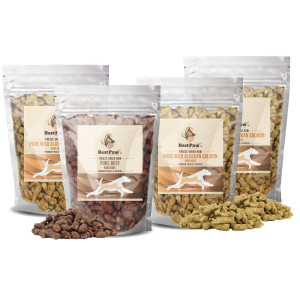 Freeze Dried Cat or Dog Food Gluten and Grain Free Natural Dehydrated Raw Mixers, Treats, Meal Toppers or Entrees Pure Wild Salmon Mini Nibs High in Protein for Carnivore Pets and Made in The USA Only