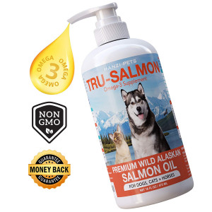 Pure Wild Alaskan Salmon Oil for Dogs, Cats and Horses | Rich in EPA + DHA | All-Natural | Anti inflammatory | Supports Joint Function | Skin and Coat | Non GMO | cGMP Certified | Made in USA