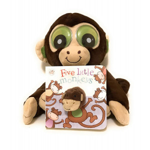 Five Little Monkeys Jumping On The Bed Little Learner Finger Puppet Board Book with Plush Monkey Bundle