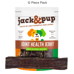 JackandPup 12 Joint Health Beef Jerky Dog Treat Chews (12 Pack)  Gourmet, Fresh and Savory Beef Gullet Jerky - Naturally Rich in Glucosamine and Chondroitin - Promotes Healthy Joints and Tissue Growth