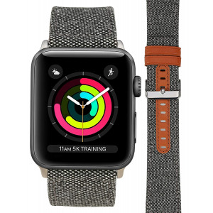 For Apple Watch Band, Smart Watch Band for Men/Womens Models Loop Fabric Canvas Woven Camo Bracelet Wrist Strap with Metal Clasp Adapter for Series 3/2/1 Apple Watch Sport Edition (Light Gray-42mm)