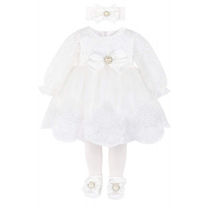 T.F. Taffy Taffy Baby Girl Newborn Christening Baptism Lace White Dress Gown 6 Piece Deluxe Set