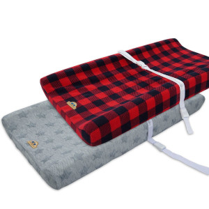 BlueSnail Plush Super Soft and Comfy Changing Pad Cover for Baby 2-Pack (red+Grey)