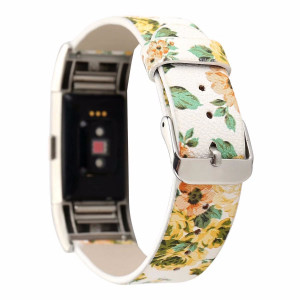 Dahase Compatible for Fitbit Charge 2 Watch Band, Little Rose Painting Rural Style Floral Painted Flower Strap Bracelet Wristband Watch Band for Fitbit Charge 2 Smart Watch Yellow