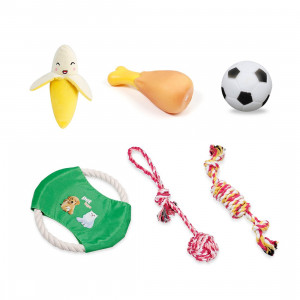 JEANSWSB 5 PCS Pet Dog Puppy Chew Toys - Anti Bite Squeaker Squeaky Sound Cute Ball Vegetable Chicken Designs Dogs Toy Pet Products