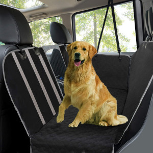 Dog Car Seat Covers,Waterproof Scratch Proof Pet Seat Covers Dog Seat Covers for Back Seat w/ Mesh Window/ Side Flaps,Convertible dog Hammock,Durable Soft Seat Protector for Cars Trucks and SUVs,Black