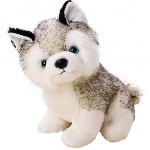 """Smilesky Plush Husky Dog Stuffed Animal Puppy Toys Gifts 8"""""""