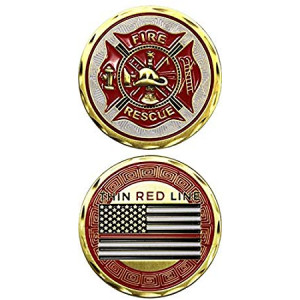 Fire Department Thin Red Line Challenge Coin