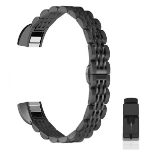 For Fitbit Alta HR and Alta Band With Metal Clasp, Premium Solid Stainless Steel Metal Wristband Strap Replacement Watch Band for Fitbit Alta/Fitbit Alta HR 2017/Alta HR Smart Fitness Tracker Black