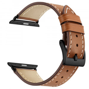 Leather Band for Apple Watch 44mm 42mm, iWatch Series 4 3 2 1 Replacement Sport iWatch Strap Band with Stainless Metal Buckle Clasp