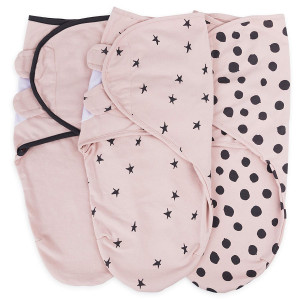 Adjustable Swaddle Blanket Infant Baby Wrap Set 3 Pack 0-3 Months by Ely's and Co. (Blush Pink, 0-3 Months)