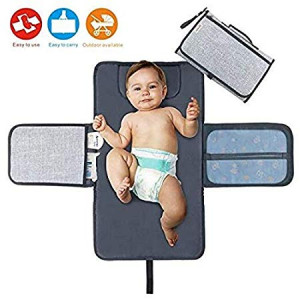 Diaper Changing Pad Diaper Change Mat with Head Cushion and Pockets,Infants Baby Portable Waterproof Changer Mat for Home,Travel and Outside Idefair (TM)