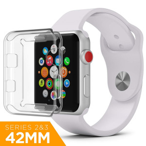 PowerBear Clear Case Compatible with Apple Watch [Series 2 and 3] 42mm Screen Protector | Clear HD 0.3mm Ultra-Thin TPU Protection [24 Month Warranty]