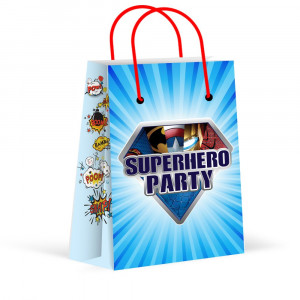 LARZN Premium Superhero Party Bags, New, Treat Bags, Gift Bags ,Goody Bags, Superhero Party Favors, Superhero Party Supplies, Decorations, 12 Pack