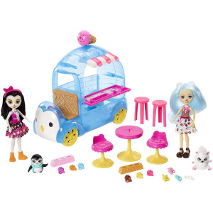 Enchantimals Frozen Treats Truck + Preena Penguin Doll and Jayla Figure