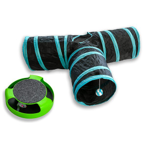 AroPaw Interactive Cat Toy Value Pack Includes 2 Kitten Interactive Toys Three Way Cat Tunnel - Catch The Mouse, Mice Toy, Running Mouse Catnip Toy with A Felt Scratchpad - Cats and Kittens Toys