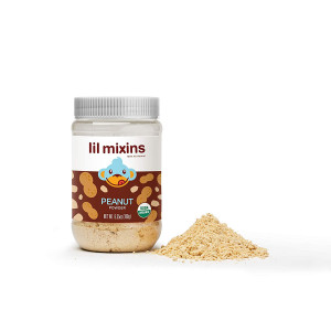 Lil Mixins Peanut Powder - 60 Servings, Lasts 3+ Months, Easy Allergen Introduction, Blend into Milk/Food, All Natural, Organic, No Sugar