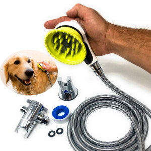 All-In-One Quality Dog Shower Kit | Innovative Shower Brush and Splash Shield | Keep Water Away From Dogs Ears, Eyes and Yourself | 8 ft Flexible Metal Hose, Shower Diverter and Suction Cup Holder