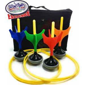 Matty's Toy Stop Deluxe Lawn Darts Set with 4 Lawn Darts, 2 Target Rings and Storage Bag
