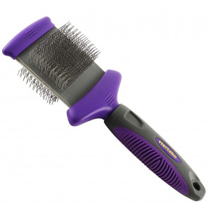 Hertzko Double Sided Flexible Slicker Brush Removes Loose Hair, Tangles, and Knots, Flexible Head Contours on Your Pet's Skin - Suitable for Dogs and Cats