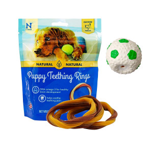 Puppy Teething Toys - Puppy Teething Ring Bones - Puppy Treats Chicken Natural Dental Chews - Best For Puppy Chewing - Puppy Teething Set With Squeaky Ball and 3 Teething Rings - Puppy Chew Bundle