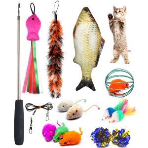 PETOY Cat Toys Set, Cat Retractable Teaser Wand, Catnip Fish, Interactive Cat Feather Toy, Mylar Crincle Balls, Two Cotton Mice, Two Fluffy Mouse