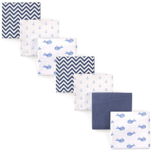 Hudson Baby Unisex Baby Flannel Receiving Blankets 7-Pack, Blue Whales, One Size