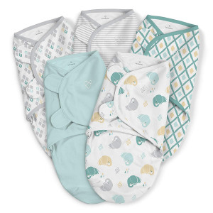 SwaddleMe Original Swaddle 5-PK, Elephant Dream, Small