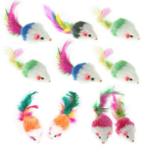 Davias Furry Pet Cat Toys Mice, Cat Toy Mouse, Pet Toys for Cats, Cat Catcher for Feather Tails, 10 Mice Toys per Package