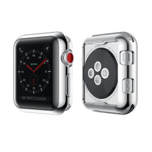Luka Tech Apple Watch 3 Case Buit in TPU Screen Protector All-around Protective Case High Defination Clear Ultra-Thin Cover for Apple watch 38 mm Series 3/Series 2(Sliver,not water resistant)