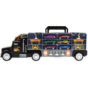 """Toysery Transport Car Carrier Truck Toy for Kids with 6 Alloy Cars and 28 Slots - Long Truck Toy for Boys, Girls and Children - 20"""" Long"""