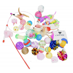 Best Value Cat Toys Variety Bundle Set with Wand, Balls, Mouses, Feathers, Catnip, 16 or 35 Fun Interactive Cat Toys (35 PK)