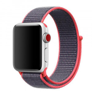 Amedve Woven Nylon Sport Loop with Hook and Loop Fastener Adjustable Closure Breathable Replacement Band for Apple Watch Nike+, Series 3/2/1, Sport, Edition (Electric Pink, 42mm)