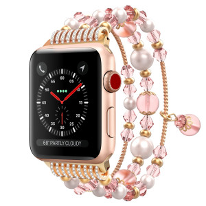 MoKo Compatible Band Replacement for Apple Watch 42mm 44mm Series 4/3/2/1, Luxurious Artificial Jewelry Diamond Bracelet Replacement Strap + Watch Lugs - Pink (Not Fit 42mm 44mm Versions)