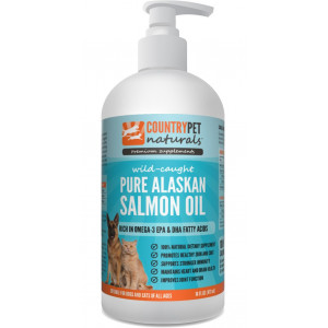 Pure Wild Alaskan Salmon Oil for Dogs and Cats - 100% Natural Omega 3 Liquid Pet Food Supplement - EPA and DHA Fatty Acids Promote Healthy Skin and Coat, Support Stronger Immunity, Improve Joint Function