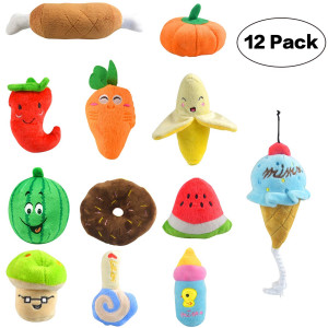 JOYCLUB Squeaky Toys for Dogs Cute Plush Toys for Puppy Small Medium Dogs Variety of Animal Fruits and Vegetables