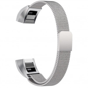 for Fitbit Alta HR and Fitbit Alta Tracker Bands, Women and Men Metal Stainless Steel Buckle Clasp Breathable Replacement Wrist Band, Comfortable Magnetic Milanese Sport Watch Bracelet Silver Large