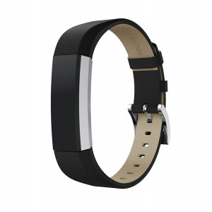 For Fitbit Alta HR/Alta Bands, Bling Glitter Genuine Leather Band Replacement Bands Bracelet Wristbands for Fitbit Alta and Fitbit Alta HR Fitness Tracker Accessories Strap (Black)