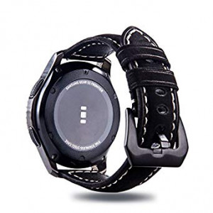 Gear S3 Frontier/Classic Watch Band, Gear S3 22mm Quick Release Easy Fit Genuine Leather Watch Strap Replacement Wristband with Metal Buckle Clasp for Samsung Gear S3 Frontier Smart Watch(Matte Black)