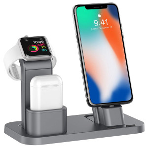 Charging Stand Compatible for Apple Watch, 3 in 1 Stand Docks Holder Compatible for Airpods iWatch Series 4/3/2/1, iPhone Xs, Xs Max, Xr, X, 8 (Gray)